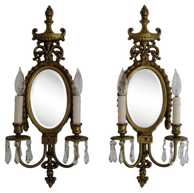 French Empire Mirror Sconces, Pair