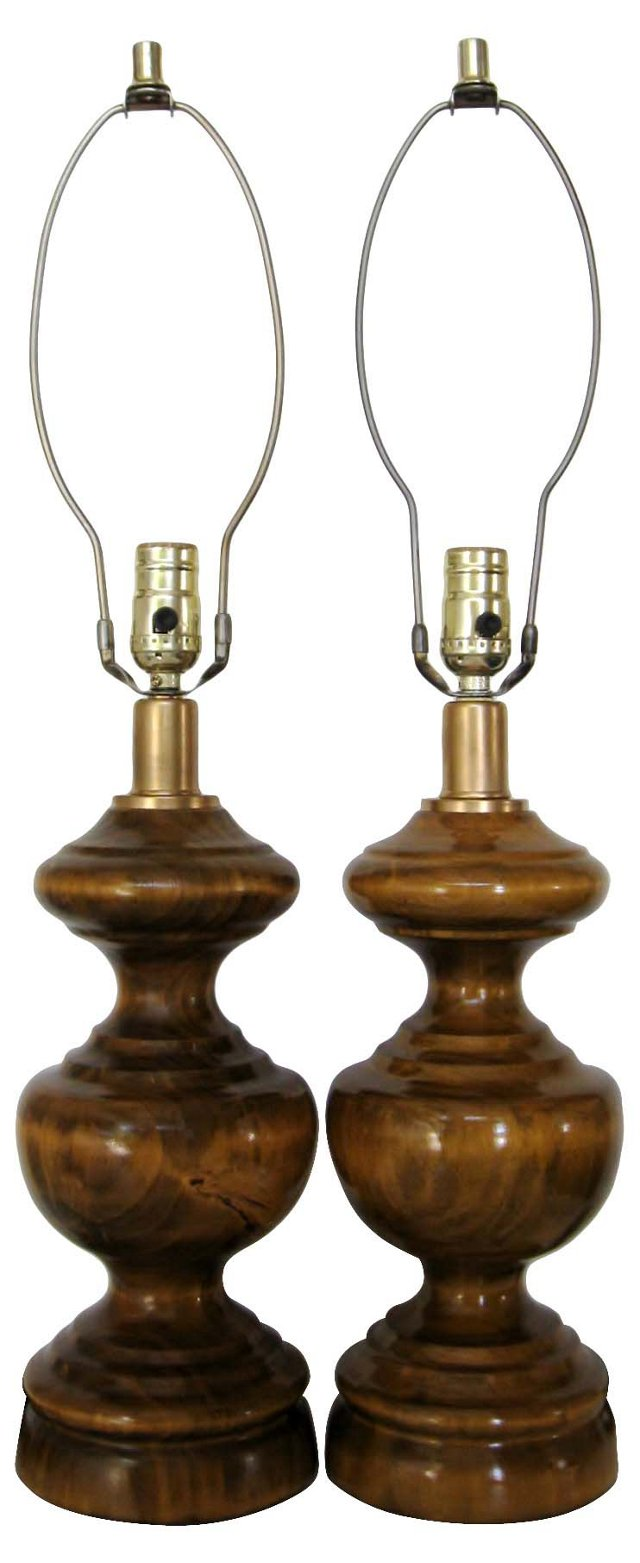 Olive Wood Lamps, Pair