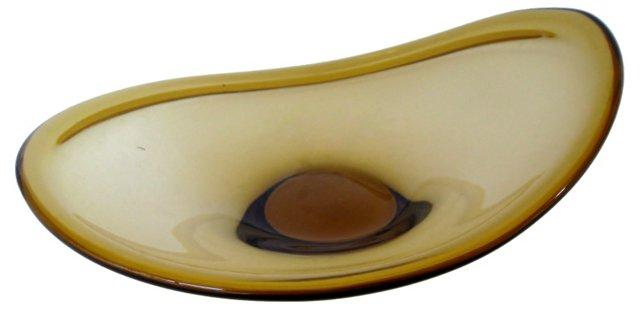 Angled Amber Glass Bowl