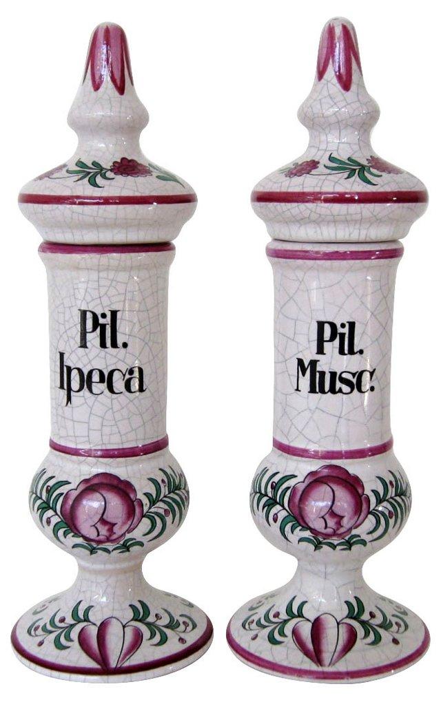 Slender Apothecary Jars, Pair