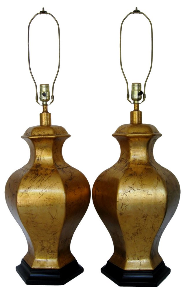 Gold Leaf Ceramic Lamps, Pair