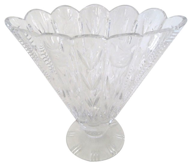 Scalloped Cut Crystal Vase