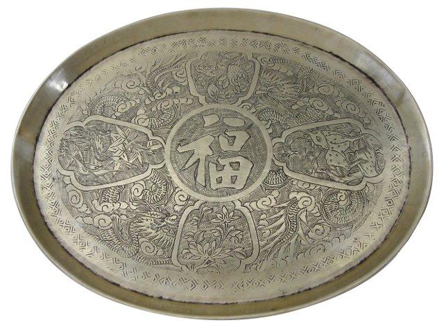 Chinese Dragon Brass Tray