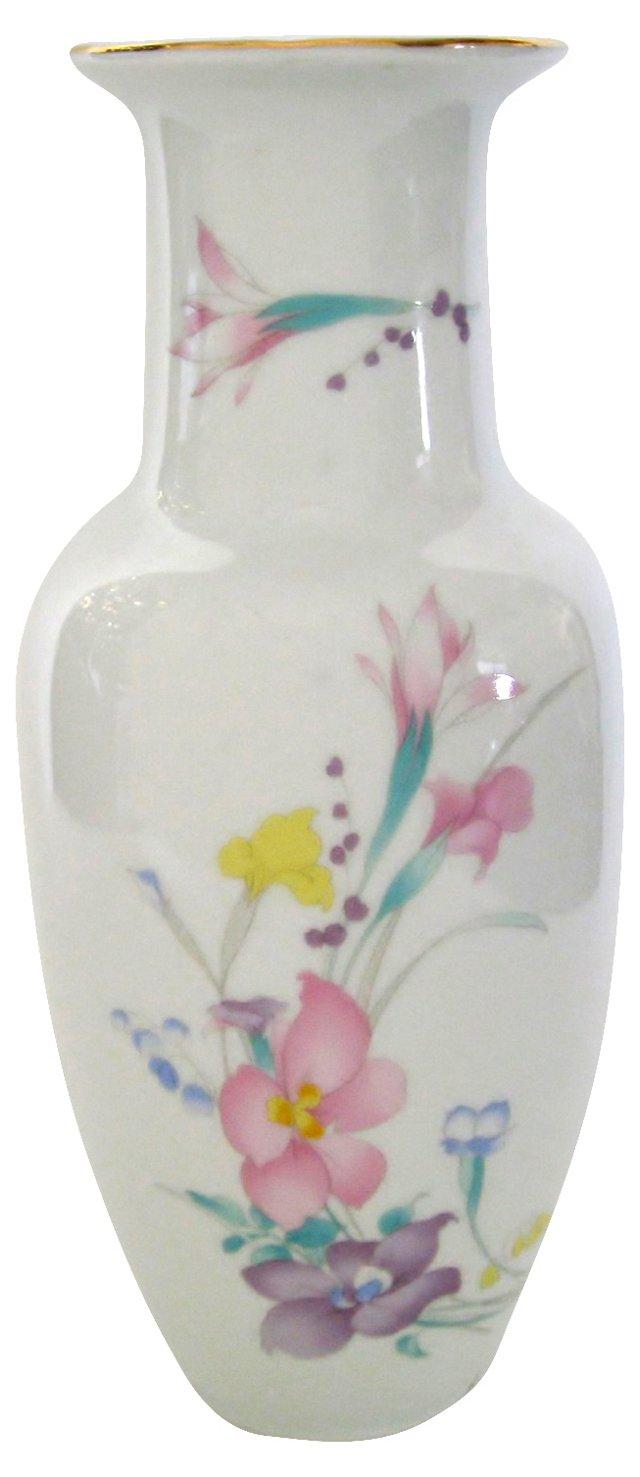 Porcelain Vase w/ Pastel Flowers