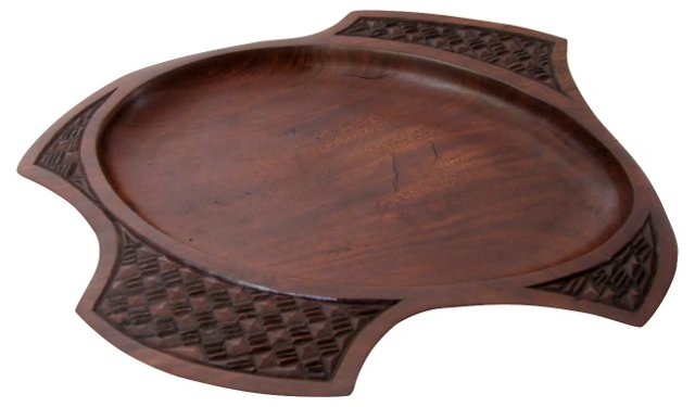 Carved Dark Wood Catchall