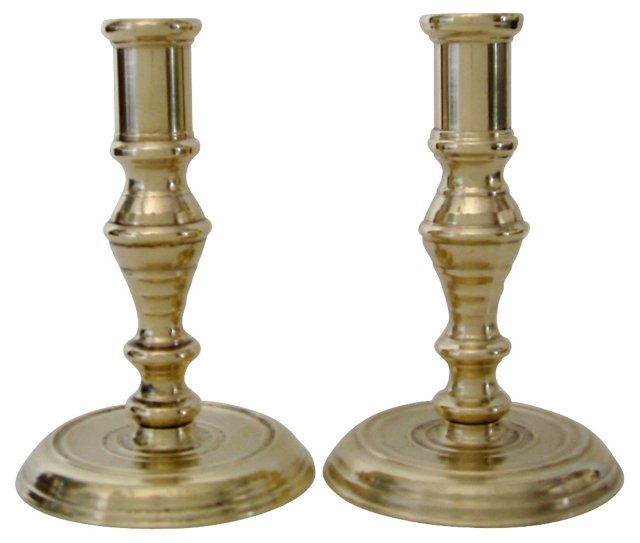 Neoclassical Brass Candlesticks, Pair