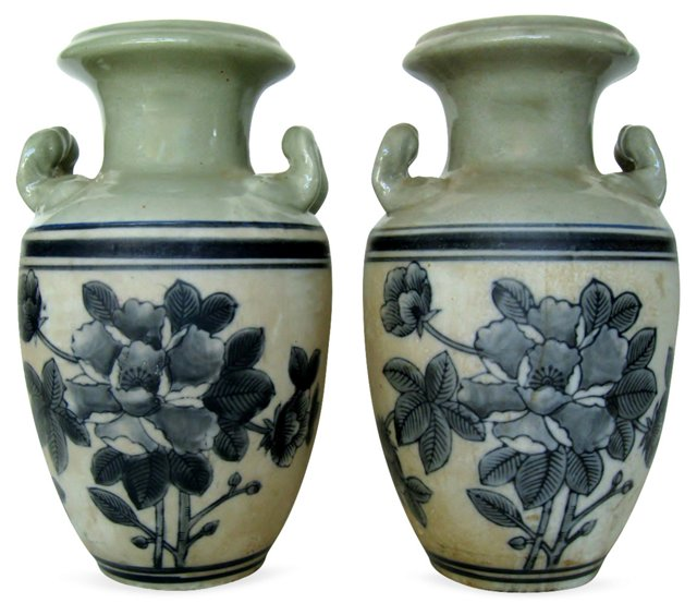 Mixed Glaze Chinese Vases, Pair