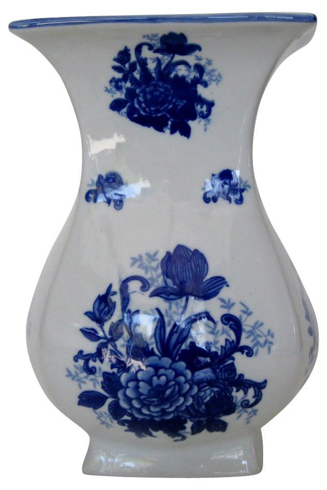 Blue Floral Porcelain Vase