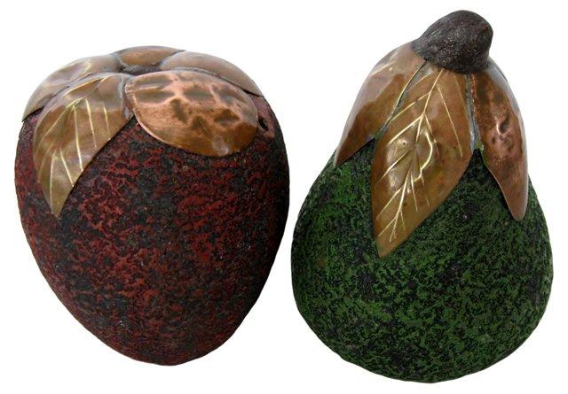 Resin Fruit w/ Copper Leaves, Pair