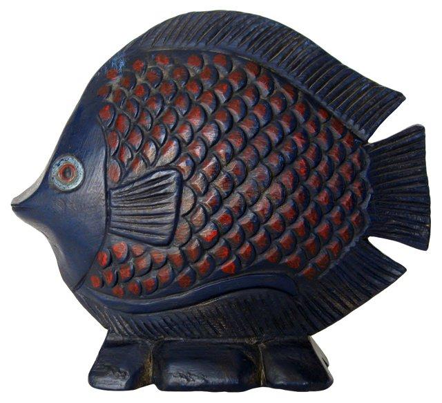 Navy Blue Glazed Wood Fish