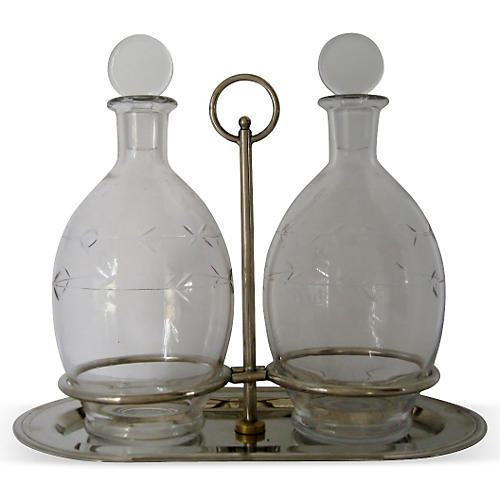 Etched Decanters w/ Silver-Plate Tray