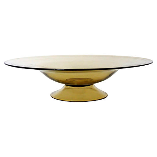 Pale Amber Glass Footed Bowl
