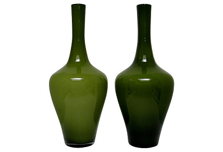 Tall Olive Cased Glass Vases, Pair