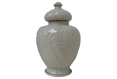 Ivory Porcelain Ginger Jar w/ Lid
