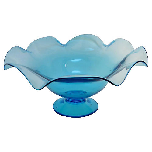 Large Turquoise Glass Compote Bowl