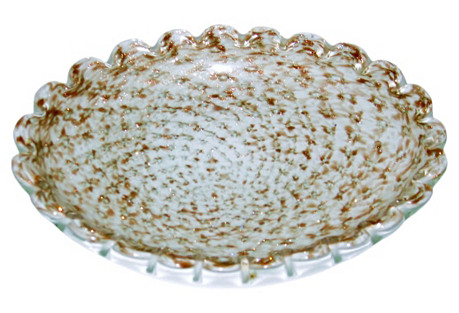 Murano Copper Aventurine Oval Bowl