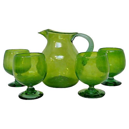 Lime Green Sangria Set, 5 Pcs