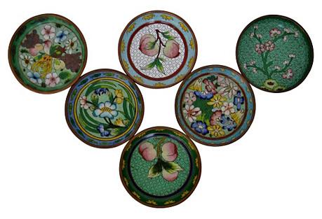 Cloisionné Coasters, S/6