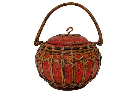 Carved Wood & Wicker Container