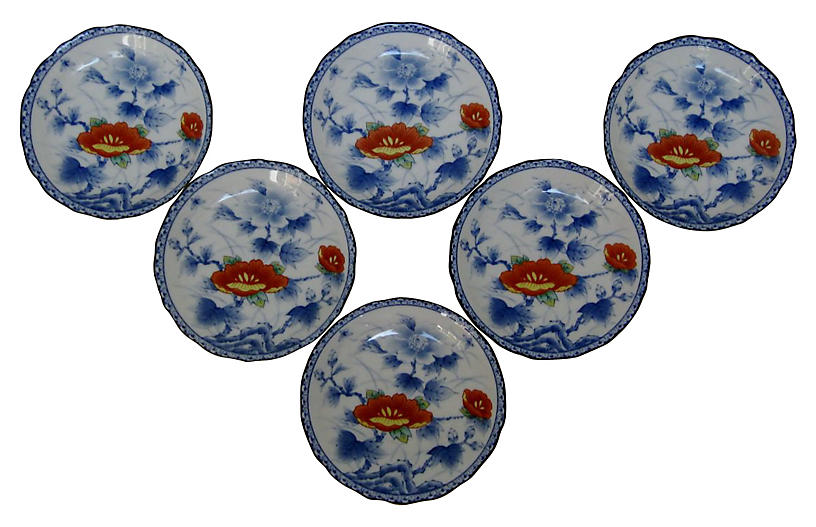 Blue & White Sauce Bowls, S/6