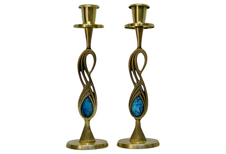 Eliat Stone & Brass Candlesticks, Pair
