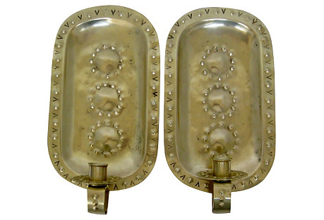 Swedish Candlestick Sconces, Pair