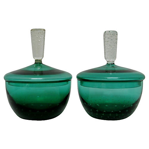 Erickson Glass Covered Bowls, Pair