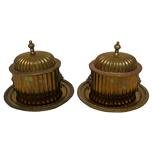 Fluted Brass Boxes, Pair