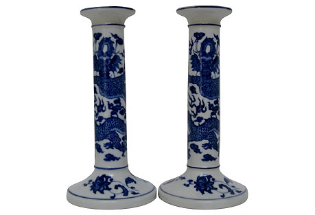 Porcelain Candlesticks, Pair