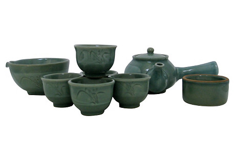 Celadon Tea Set, Service for 5