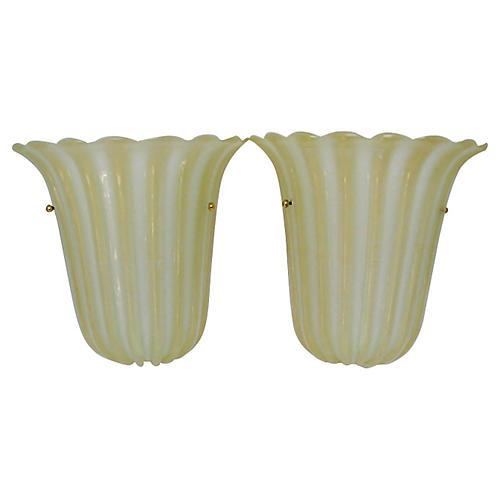 Barovier Glass Sconces, Pair