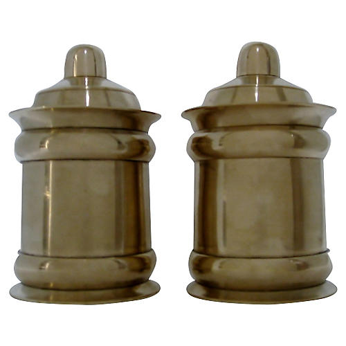 Brass Tea Caddies, Pair