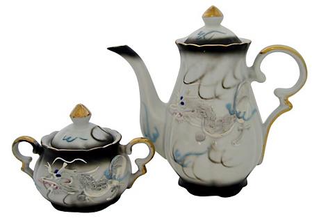 Moriage Teapot & Sugar Bowl