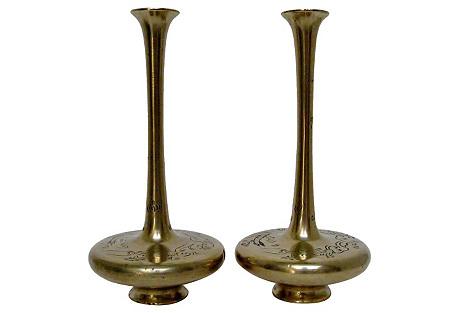 Brass Bud Vases, Pair