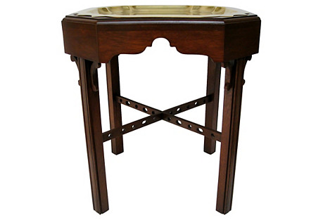 Wood & Brass Tea Table
