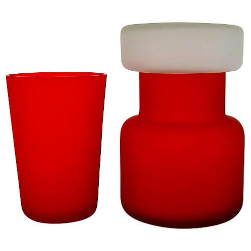 Italian Satin Glass Vessels, 2 Pcs