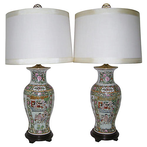 Chinese Famille Vert Lamps, Pair