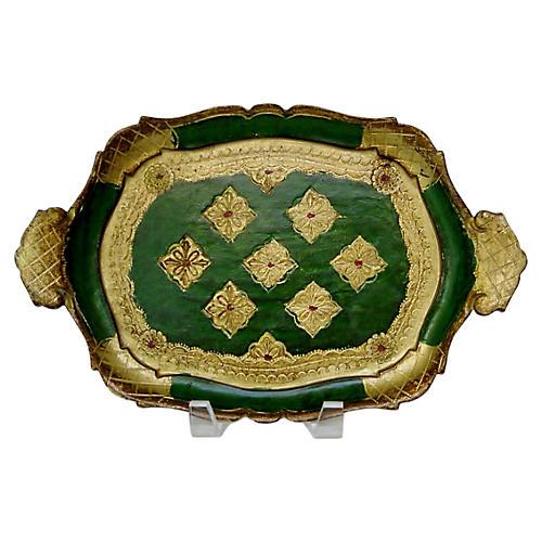 Florentine Gold & Emerald Tray