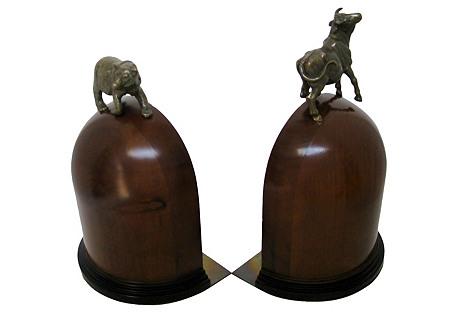 Wood & Brass Bookends, Pair