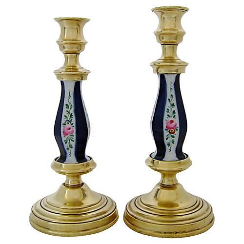 Antique German Candlesticks, Pair