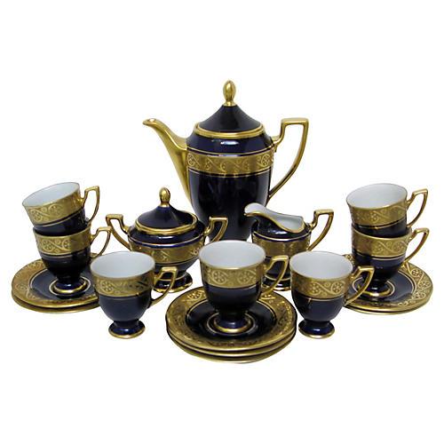 Cobalt & 22K Gold Coffee Set, 19 Pcs