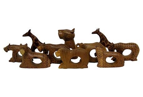 African Wood Napkin Rings, Set of 10
