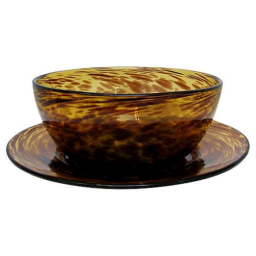 Murano Tortoise Glass Vessels, Pair