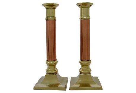 Brass & Copper Candlesticks, Pair