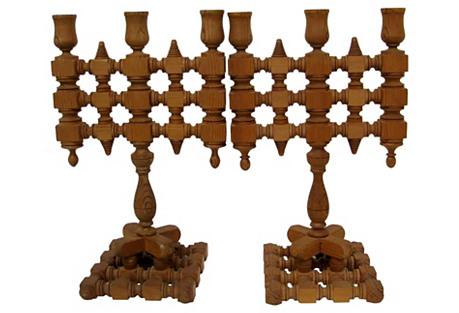 Wood Candelabra, Pair