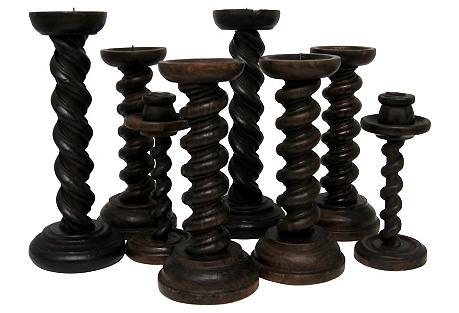 Wood Twist Candleholders, Set of 8