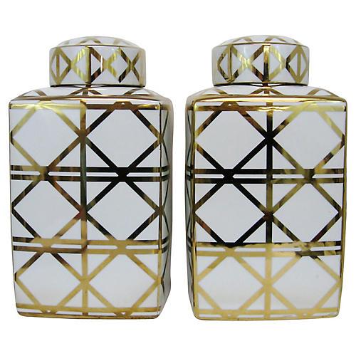 Gilded Ginger Jars, Pair