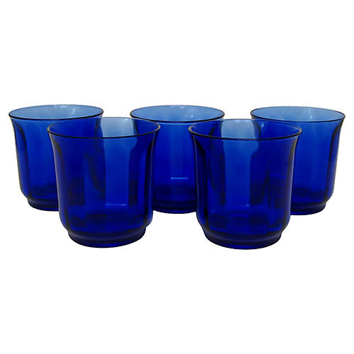 French Double Old Fashioned Glasses, S/5