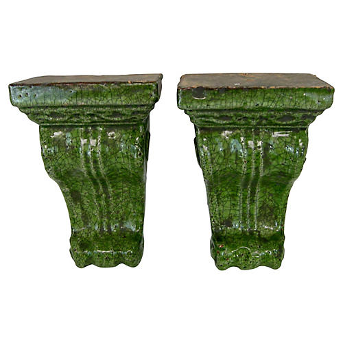 Green Wall Brackets, Pair