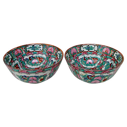 Chinese Rose Medallion Bowls, Pair